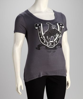 Charcoal Horseshoe Plus-Size Top