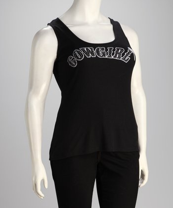 Black Cowgirl Plus-Size Sleeveless Top