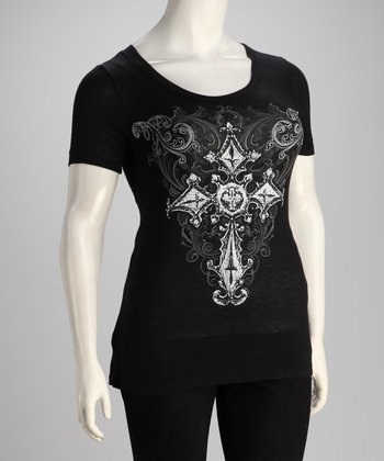 Black Cross Plus-Size Short-Sleeve Top
