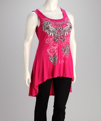 Hot Pink Rose Angel Plus-Size Hi-Low Top