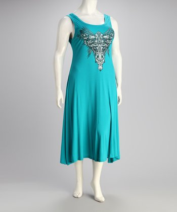 Turquoise Angel Plus-Size Sleeveless Dress