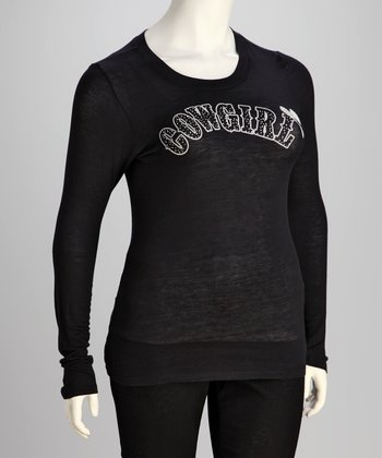 Black Cowgirl Plus-Size Long-Sleeve Top