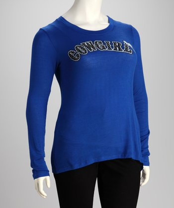 Blue Cowgirl Plus-Size Long-Sleeve Top