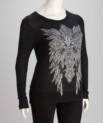 Black Winged Cross Long-Sleeve Tee - Plus