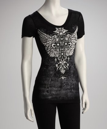 Black Cross Wing Top - Women