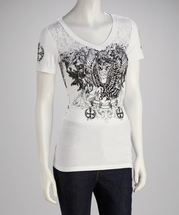 White Lace Graphic Top - Women & Plus
