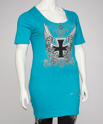 Turquoise Cross Plus-Size Scoop Neck Tunic