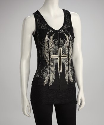 Black Lace Cross Tank - Women