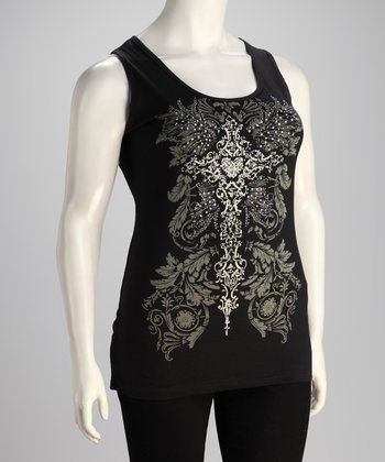 Black Lace Slash-Back Plus-Size Tank