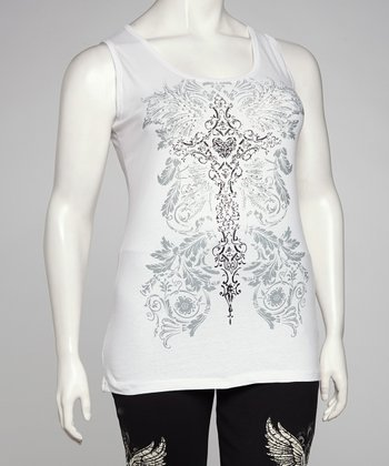 White Cross Plus-Size Tank
