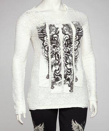 White Wing Lace Plus-Size Top