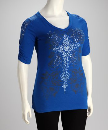 Blue Cross Lace-Shoulder Plus-Size Top
