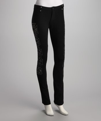 Black Mesh Cross Pants - Women