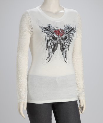 Ivory Wings Plus-Size Long-Sleeve Top