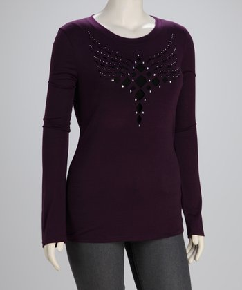 Purple Cutout Plus-Size Long-Sleeve Top