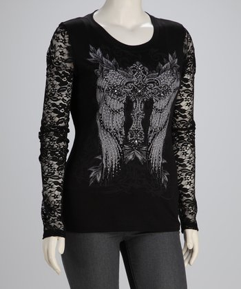 Black Winged Cross Plus-Size Long-Sleeve Top