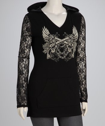 Black Wings Plus-Size Lace-Sleeve Hoodie