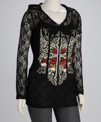 Black Winged Cross Lace Plus-Size Hoodie