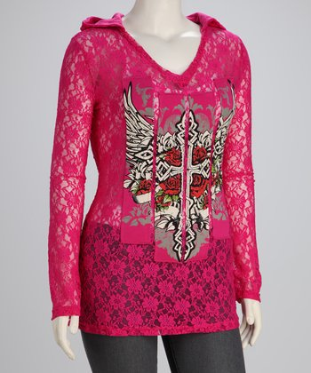 Hot Pink Winged Cross Lace Plus-Size Hoodie