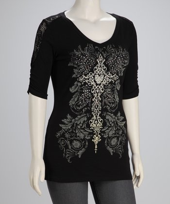 Black Cross Plus-Size V-Neck Top