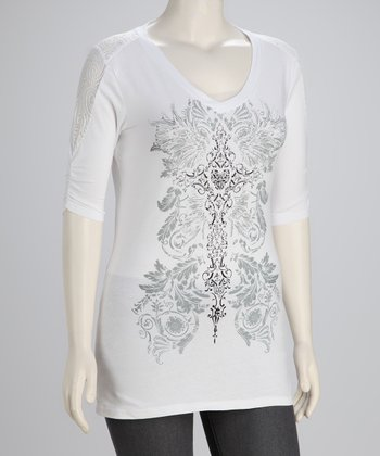 White Cross Plus-Size V-Neck Top