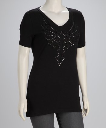 Black Winged Cross Plus-Size V-Neck Top
