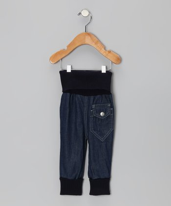 Midnight Wash Ribbed Organic Baggy Jeans - Infant