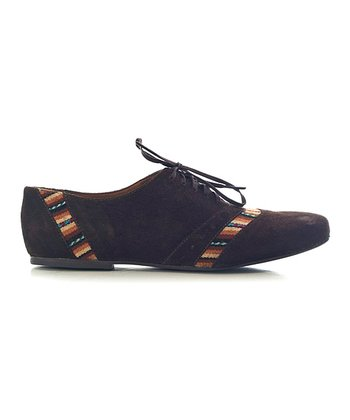 Brown Stripe Annie Suede Oxford - Women