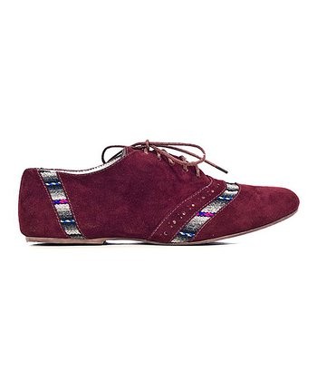 Burgundy Stripe Annie Suede Oxford