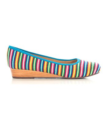 Teal Stripe Wedge - Women