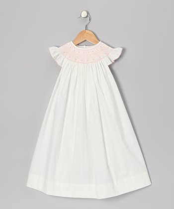 White Angel-Sleeve Dress - Infant & Toddler