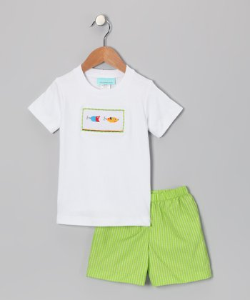 White Fish Tee & Lime Shorts - Infant & Toddler