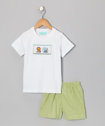 White Circus Tee & Lime Shorts - Infant