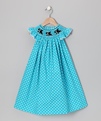 Turquoise Orca Angel-Sleeve Dress - Infant, Toddler & Girls