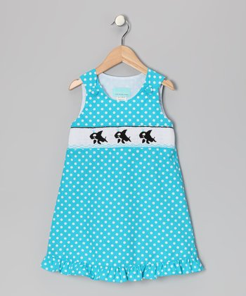Turquoise Orca Ruffle Dress - Toddler & Girls