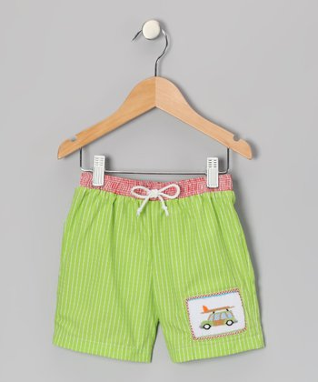 Lime Surfer Wagon Shorts - Infant