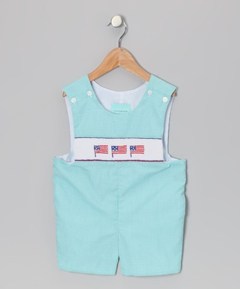 Aqua Gingham Flag John Johns - Infant & Toddler