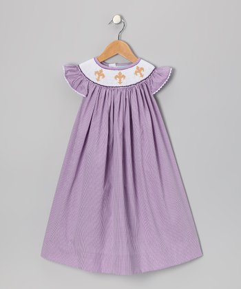 Purple Fleur de Lis Angel-Sleeve Dress - Infant & Toddler