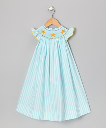 Aqua Starfish Angel-Sleeve Dress - Infant, Toddler & Girls