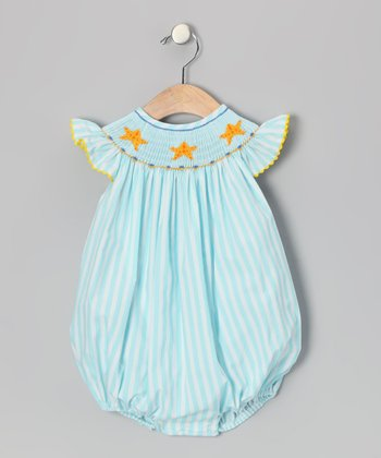 Aqua Starfish Angel-Sleeve Bubble Bodysuit - Infant