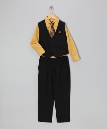 Black & Mustard Four-Piece Vest Set - Infant, Toddler & Boys