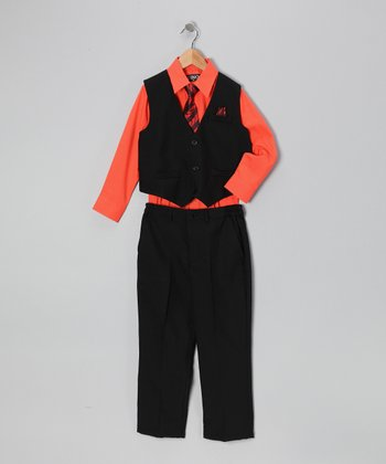 Black & Orange Four-Piece Vest Set - Infant, Toddler & Boys