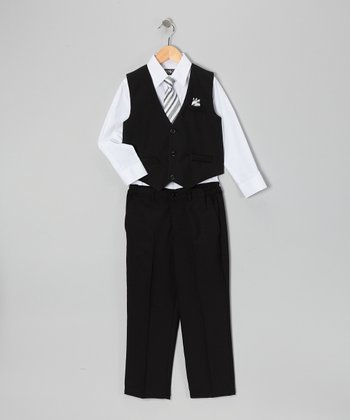 Black & White Four-Piece Vest Set - Infant Toddler & Boys