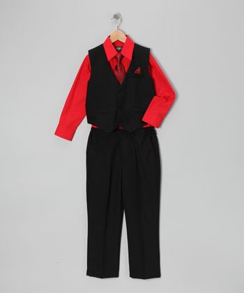 Black & Red Four-Piece Vest Set - Infant, Toddler & Boys