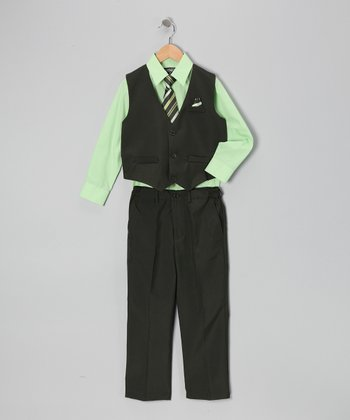 Black & Green Four-Piece Vest Set - Infant, Toddler & Boys