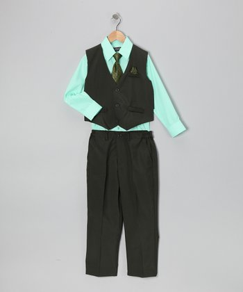 Black & Mint Four-Piece Vest Set - Infant, Toddler & Boys