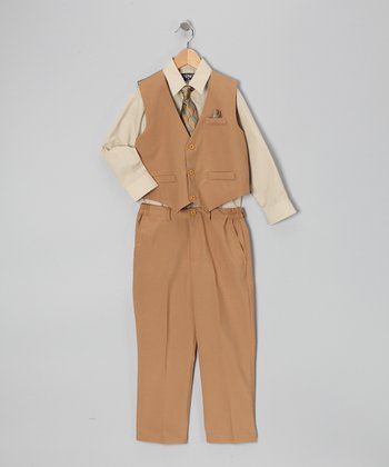 Sand & Beige Four-Piece Vest Set - Infant, Toddler & Boys