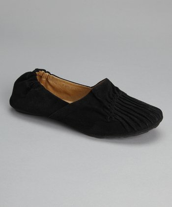 Black Suede Pleated Cam Flat