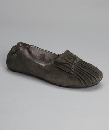 Gray Suede Pleated Cam Flat