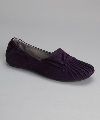 Purple Suede Pleated Cam Flat